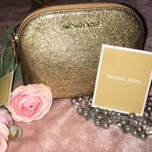 ✨NEW MK Smooth Glitter Gold Leather Travel Pouch💕